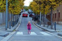 Милый маленький фотограф стоя на пешеходном переходе Стоковое Фото