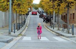 Милый маленький фотограф стоя на пешеходном переходе Стоковое Изображение RF