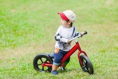 Милый мальчик 2-3 годовалый смотрящ что-то в саде Стоковые Изображения RF