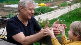 Милый мальчик играя с его дедом, outdoors лета сток-видео