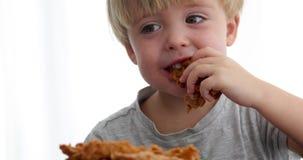 Милый мальчик наслаждаясь едой акции видеоматериалы