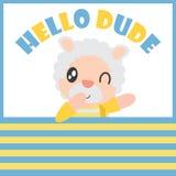 Милый мальчик овец говорит здравствуйте! парня с его иллюстрацией шаржа шарика для дизайна предпосылки футболки ребенк иллюстрация вектора