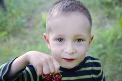 Милый мальчик с вишнями стоковое фото