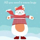 Милый медведь все белого рождества вам теплые объятия бесплатная иллюстрация