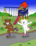 Милый медведь играя коньки ролика в мультфильме парка иллюстрация вектора