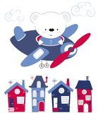 Милый медведь младенца летая над домами на самолете Печатание для детей, плакат детей, одежда детей, открытка Vecto иллюстрация вектора