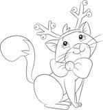 Милый меньший кот рождества с antlers северного оленя, для книжка-раскраски детей иллюстрация штока