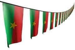 Милый много флаги или знамен Буркина-Фасо вися диагональ с взглядом перспективы на строке изолированной на бело- любой флаг 3d сл иллюстрация штока