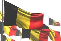 Милый много флагов Бельгии развевать изолированных на бело- иллюстрац иллюстрация штока