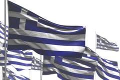 Милый много флагов Греции развевать изолированных на бело- фото с мягким фокусом - любой иллюстрацией флага 3d случая бесплатная иллюстрация