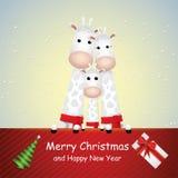 Милый мультфильм, жирафы семья и карта подарка иллюстрация вектора