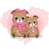 Милый мультфильм щенка 2 на сердце предпосылки иллюстрация вектора