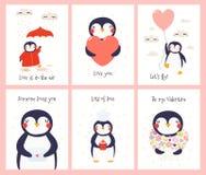 Милый набор карт дня Святого Валентина пингвина бесплатная иллюстрация