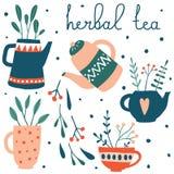 Милый набор травяного чая иллюстрация штока