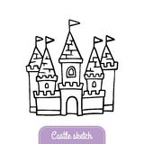 Милый нарисованный вручную замок сказки для волшебного королевства бесплатная иллюстрация
