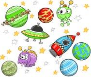 милый наружный космос комплекта иллюстрация вектора