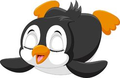 Милый пингвин младенца сползает на снег Стоковые Изображения