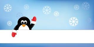 Милый пингвин с красным цветом с предпосылкой снега перчаток с Рождеством Христовым иллюстрация штока