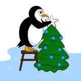 Милый пингвин украшает дерево Нового Года бесплатная иллюстрация