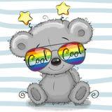 Милый плюшевый медвежонок с стеклами солнца бесплатная иллюстрация