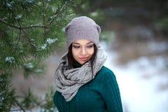 Милый портрет женщины внешний в зиме с снегом Стоковое Изображение RF