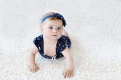 Милый прелестный ребёнок в голубых одеждах и держателе маленький ребенок смотря камеру и вползать Учить младенца стоковые изображения rf