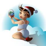 Милый ребенок держит стеклянный шарик Оно ` s подарок на праздник иллюстрация штока