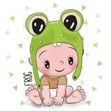 Милый ребёнок шаржа в шляпе лягушки иллюстрация вектора