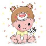 Милый ребёнок шаржа в шляпе медведя бесплатная иллюстрация
