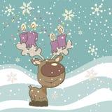 Милый северный олень с свечками Стоковые Фотографии RF