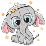 Милый слон изолированный на белой предпосылке бесплатная иллюстрация