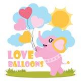 Милый слон младенца приносит иллюстрацию шаржа воздушных шаров влюбленности для счастливого дизайна карточки валентинки Стоковые Фотографии RF