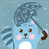 Милый, смешной кот Иллюстрация дождя Идея для футболки печати маленький princess иллюстрация штока