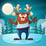 Милый, смешной медведь, иллюстрация оленей Животный характер бесплатная иллюстрация