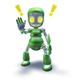 милый содружественный зеленый показ робота талисмана Стоковая Фотография RF