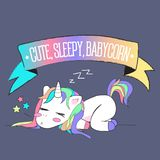 Милый сонный единорог младенца с красочной лентой радуги на верхней части иллюстрация штока