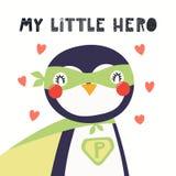 Милый супергерой пингвина иллюстрация вектора