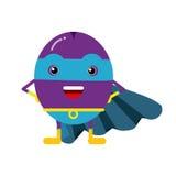 Милый супергерой сливы шаржа в маске и голубой накидке, красочной humanized иллюстрации характера плодоовощ Стоковые Изображения