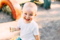 милый счастливый мальчик малыша сидя в парке с мороженым в руке и усмехаться стоковое фото rf
