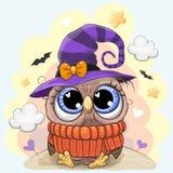 Милый сыч в шляпе хеллоуина бесплатная иллюстрация