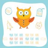 Милый сыч шаржа, молоко, колокол кольца и яблоко задняя школа принципиальной схемы к бесплатная иллюстрация