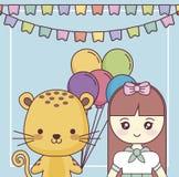 Милый тигр с поздравительой открыткой ко дню рождения с днем рождений маленькой девочки бесплатная иллюстрация