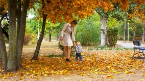 Милый 1-ти летний ребёнок при мать идя в парк осени Стоковое Изображение