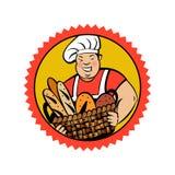 Милый тучный хлебопек с корзиной свежего хлеба Логотип хлебопекарни вектора иллюстрация штока