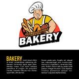 Милый тучный хлебопек с корзиной свежего хлеба Логотип хлебопекарни вектора бесплатная иллюстрация