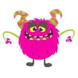 Милый усмехаться изверга шаржа Иллюстрация вектора розового волосатого изверга Дизайн хеллоуина иллюстрация штока