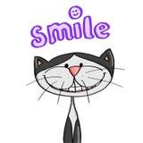 Милый усмехаться кота и шаржа и улыбки иллюстрации текст иллюстрация штока