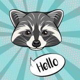 Милый характер енота показывая жест приветствию, говорить здравствуйте!, иллюстрация шаржа Стоковая Фотография RF