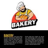 Милый хлебопек с свеже испеченным хлебом сеть вектора логоса глобуса бесплатная иллюстрация
