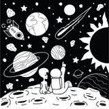 Милый человек космоса имеет романтичное время с девушкой чужеземца для напечатанного тройника и другого элемент дизайна также век Стоковые Изображения